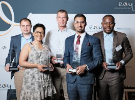 Winner of the 2019 Entrepreneur of the Year competition: Front row: Carmen Stevens; Uzair Essack Back row: Andrew Weinberg; Wynand Geldenhuys; Theo Baloyi