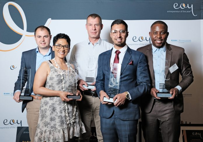 Winner of the 2019 Entrepreneur of the Year competition: Front row: Carmen Stevens; Uzair Essack Back row: Andrew Weinberg; Wynand Geldenhuys; Theo Baloyi